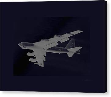 Boeing B-52 Stratofortress Taking Off On A Dangerous Night Mission Tinker Afb Oklahoma With Border Canvas Print by L Brown