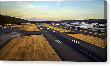 Boeing Field And Mount Rainier Canvas Print by Mike Reid
