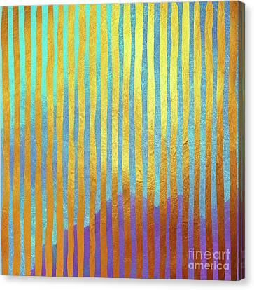 Bohemian Gold Stripes Abstract Canvas Print
