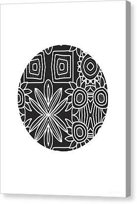 Boho Black And White Ball 1- Art By Linda Woods Canvas Print by Linda Woods