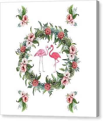 Canvas Print featuring the digital art Boho Floral Tropical Wreath Flamingo by Georgeta Blanaru