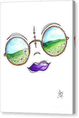 Boho Gypsy Daisy Field Sunglasses Reflection Design From The Aroon Melane 2014 Collection By Madart Canvas Print by Megan Duncanson