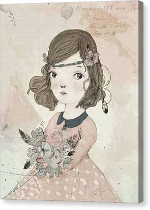 Boho Little Girl Canvas Print
