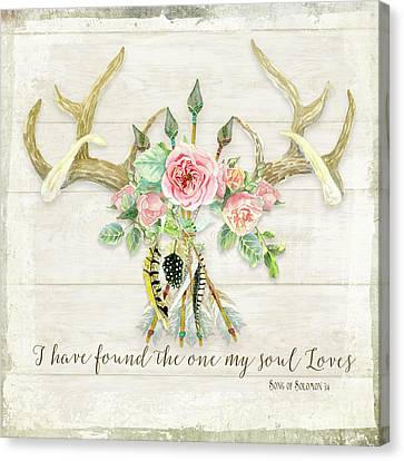 Boho Love - Deer Antlers Floral Inspirational Canvas Print