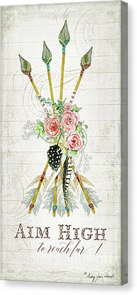 Canvas Print featuring the painting Boho Western Arrows N Feathers W Wood Macrame Feathers And Roses Aim High by Audrey Jeanne Roberts