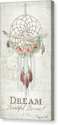 Canvas Print featuring the painting Boho Western Dream Catcher W Wood Macrame Feathers And Roses Dream Beautiful Dreams by Audrey Jeanne Roberts