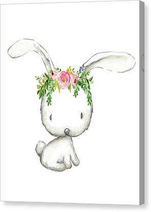 Rabbit Canvas Print - Boho Woodland Bunny Floral Watercolor by Pink Forest Cafe