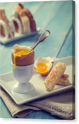 Egg-cup Canvas Print - Boiled Egg With Spoon by Amanda Elwell