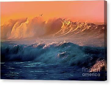 Boisterous Seas And Gull Canvas Print
