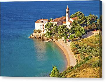 Bol Beach And Monastery Aerial View Canvas Print