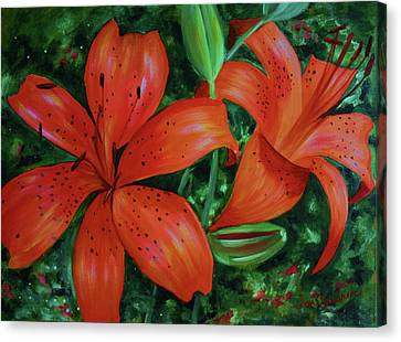 Canvas Print featuring the painting Bold Blooms by Jan Swaren