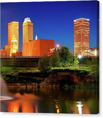 Bold Colors Of Tulsa Oklahoma Skyline Canvas Print by Gregory Ballos