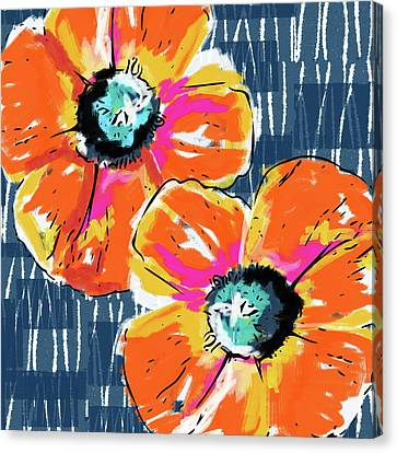 Bold Orange Poppies- Art By Linda Woods Canvas Print by Linda Woods