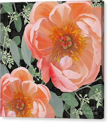 Canvas Print featuring the painting Bold Peony Seeded Eucalyptus Leaves by Audrey Jeanne Roberts