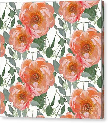 Bold Peony Seeded Eucalyptus Leaves Repeat Pattern Canvas Print by Audrey Jeanne Roberts