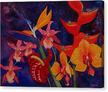Canvas Print featuring the painting Bold Tropical Flowers by Kerri Ligatich