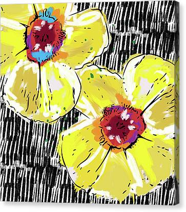 Canvas Print featuring the mixed media Bold Yellow Poppies- Art By Linda Woods by Linda Woods