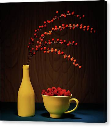 Teacup Canvas Print - Bold Yellow With Raspberries by Tom Mc Nemar