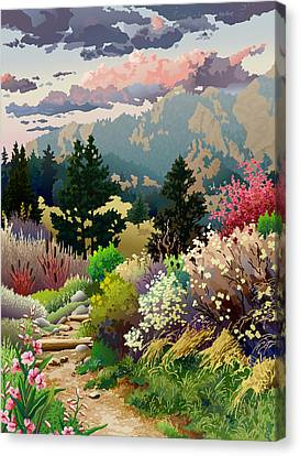 Tree Art Canvas Print - Bolder Boulder 10k Poster 2007 by Anne Gifford