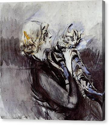 Boldini Giovanni A Lady With A Cat Canvas Print by Giovanni Boldini