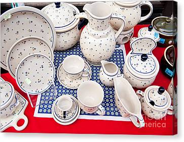 Boleslawiec Ceramics Folk Tableware Canvas Print by Arletta Cwalina