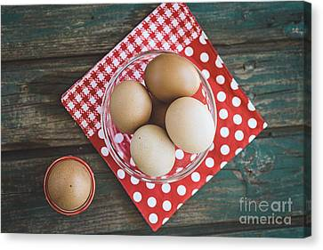 Bolied Eggs  On Wood Canvas Print