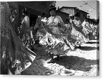 Bolivian Dance Black And White Canvas Print by For Ninety One Days