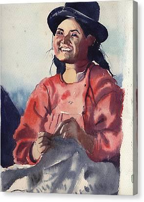 Bolivian Seamstress Canvas Print by Gertrude Palmer
