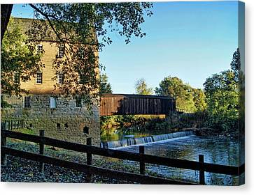 Canvas Print featuring the photograph Bollinger Mill And Bridge by Cricket Hackmann