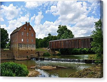 Bollinger Mill And Covered Bridge Canvas Print by Marty Koch