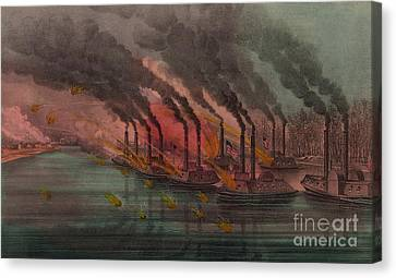Artillery Canvas Print - Bombardment And Capture Of Fort Henry, Tennessee by Currier and Ives