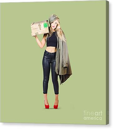 Bombshell Blond Pinup Woman In Dangerous Style Canvas Print