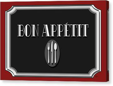 Dinner Party Invitation Canvas Print - Bon Appetit Art Deco Style Sign by Cecely Bloom