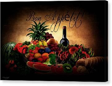 Grape Leaves Canvas Print - Bon Appetit by Lourry Legarde