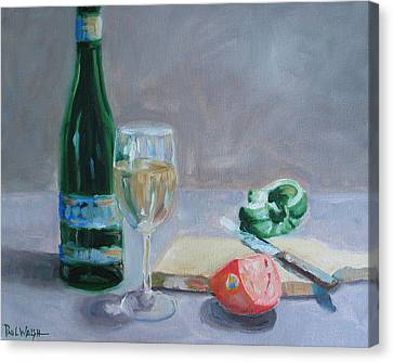 Glass Of Wine Canvas Print - Bon Appetite by Paul Walsh