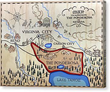Bonanza Series Ponderosa Map  1959 Canvas Print by Daniel Hagerman