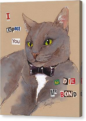 Bond Villain Kitty Canvas Print by Tracie Thompson