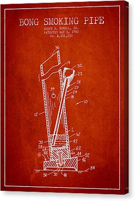 Bong Smoking Pipe Patent 1980 - Red Canvas Print