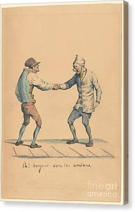 Bonjour Donc Les Anciens Canvas Print by MotionAge Designs