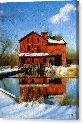 Canvas Print featuring the photograph Bonneyville In Winter by Sandy MacGowan