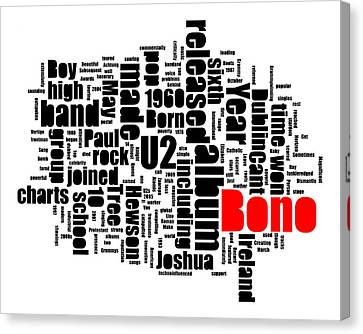 Bono Bio-typography Canvas Print by Robert Johansson