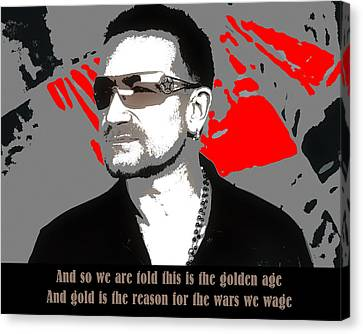 Bono New Year's Day Canvas Print by Robert Johansson