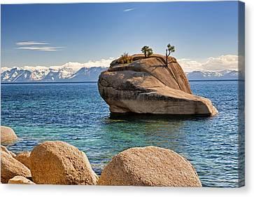 Bonsai Rock At Lake Tahoe Canvas Print