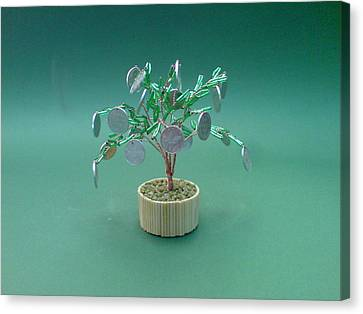 Seed Beads Canvas Print - Bonsai Wire Tree Sculpture Beaded Money      by Bujas Sinisa