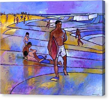 Boogieboarding At Sandy's Canvas Print by Douglas Simonson