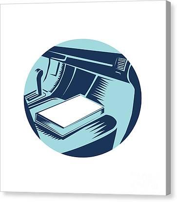 Book On Car Seat Oval Woodcut Canvas Print by Aloysius Patrimonio