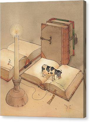 Reading Canvas Print - Bookish Cow by Kestutis Kasparavicius
