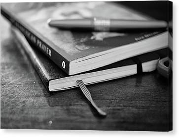 Canvas Print featuring the photograph Books, Journal And Pen by Monte Stevens