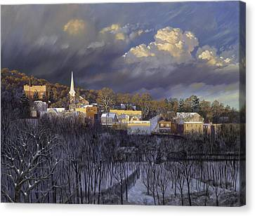 Boonton In Winter Canvas Print by David Henderson