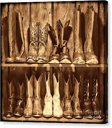 Boot Rack Canvas Print by American West Legend By Olivier Le Queinec